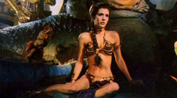 Carrie Fisher in the ubiquitous Slave Leia bikini