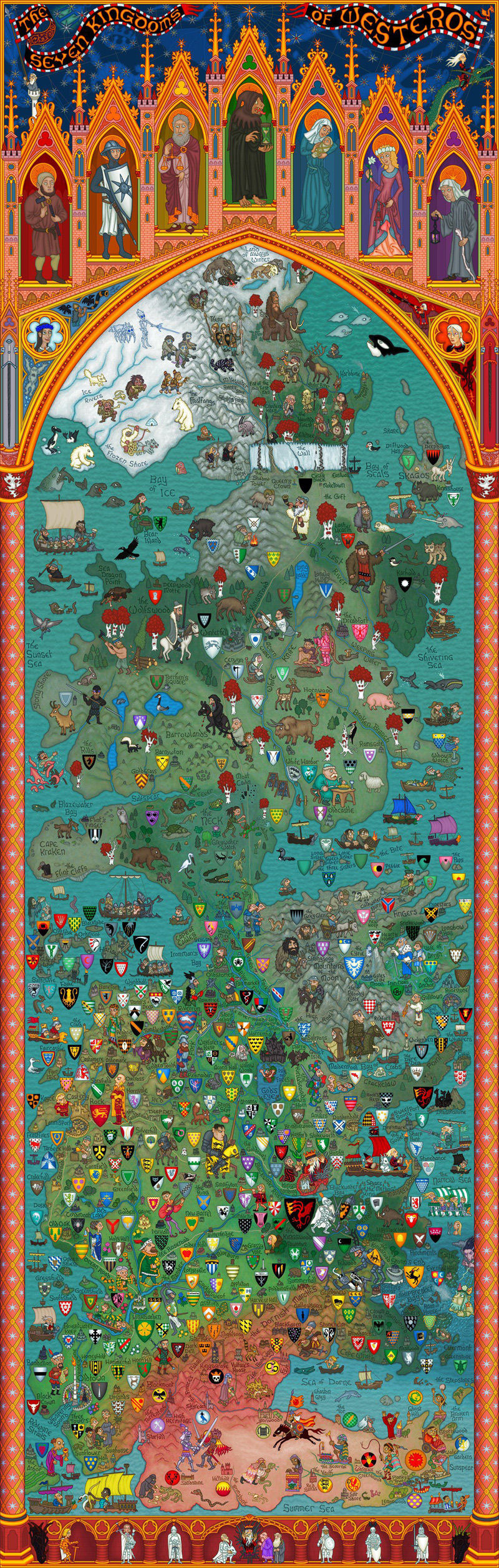 Game Of Thrones Map Of The Seven Kingdoms Of Westeros