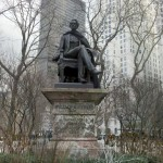 Gov. William H. Seward Statue dons The Cape. Madison Square Park, New York