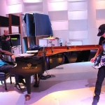 Metallica Grammy Rehearsals with Lang Lang January 23, 2014 Kirk Hammett and Lang Lang