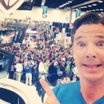 THE HOBBIT: THE BATTLE OF THE FIVE ARMIES star Benedict Cumberbatch selfie at Warner Bros. booth at SDCC 2014.