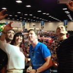 THE HOBBIT: THE BATTLE OF THE FIVE ARMIES cast member selfie at Warner Bros. booth at SDCC 2014.