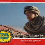 Star Wars: The Force Awakens Rey speeder trading card
