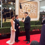 Entourage Kevin Connolly, Emmanuelle Chriqui, Carson Daly on Red Carpet Golden Globes filming