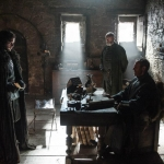 Game Of Thrones Season 5 Kit Harington as Jon Snow, Stephen Dillane as Stannis Baratheon and Liam Cunningham as Davos Seaworth