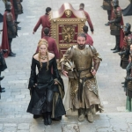 Game Of Thrones Season 5 Lena Headey as Cersei Lannister and Ian Beattie as Meryn Trant