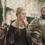 Game Of Thrones Season 5 Lena Headey as Cersei Lannister and Ian Beattie as Meryn Trant – photo Macall B. Polay/HBO