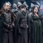 Game Of Thrones Season 5 Michael McElhatton as Roose Bolton, Iwan Rheon as Ramsay Bolton and Elizabeth Webster as Walda Frey