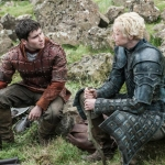 Game Of Thrones Season 5 Daniel Portman as Podrick Payne and Gwendoline Christie as Brienne of Tarth