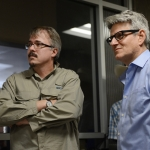 Vince Gilligan and Peter Gould on the set of Better Call Saul