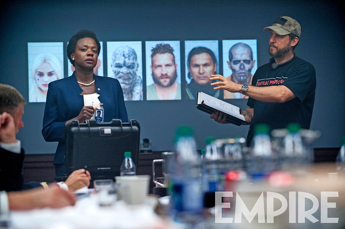 Suicide Squad Viola Davis as Amanda Waller with director David Ayers