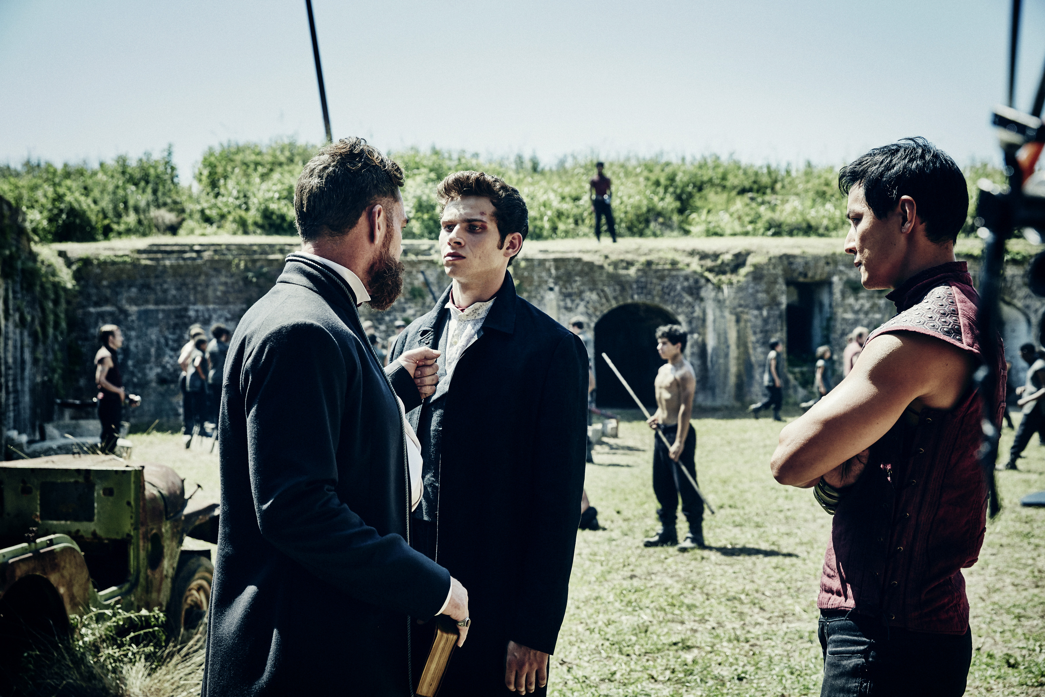 Marton Csokas as Quinn, Oliver Stark as Ryder and Daniel Wu as Sunny - Into the Badlands