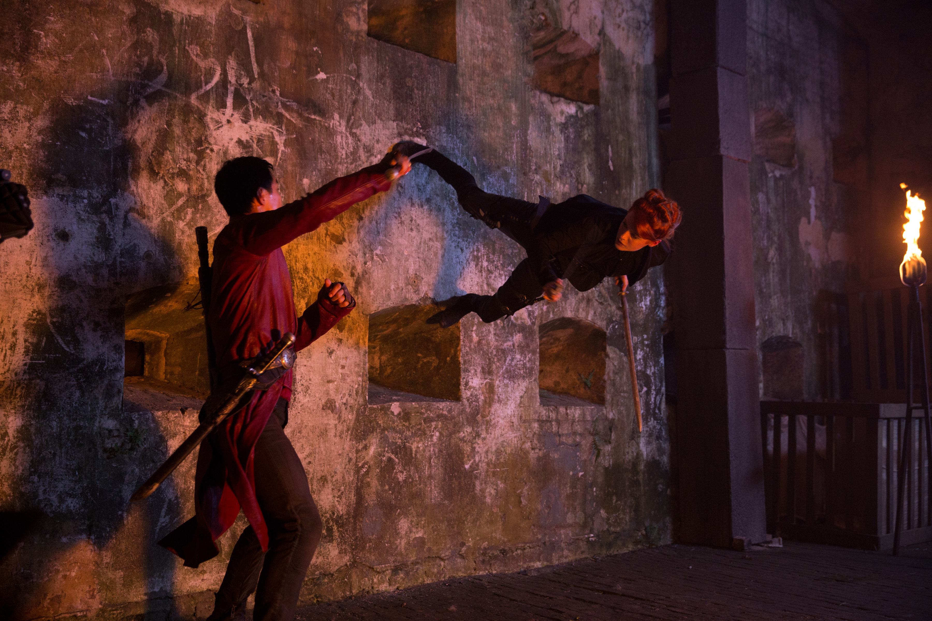 Emily Beecham as The Widow and Daniel Wu as Sunny - Into the Badlands