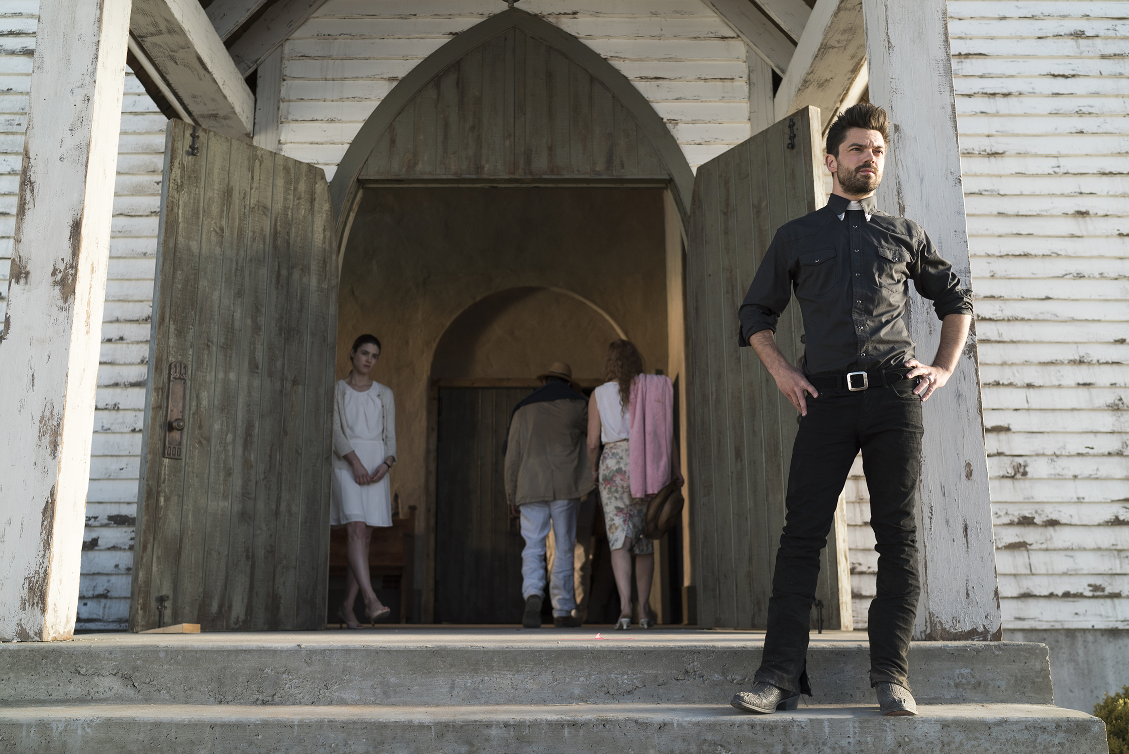 Dominic Cooper as Jesse Custer, Lucy Griffiths as Emily - Preacher