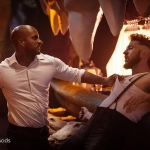 American Gods S1 Mad Sweeney and Shadow fight at bar