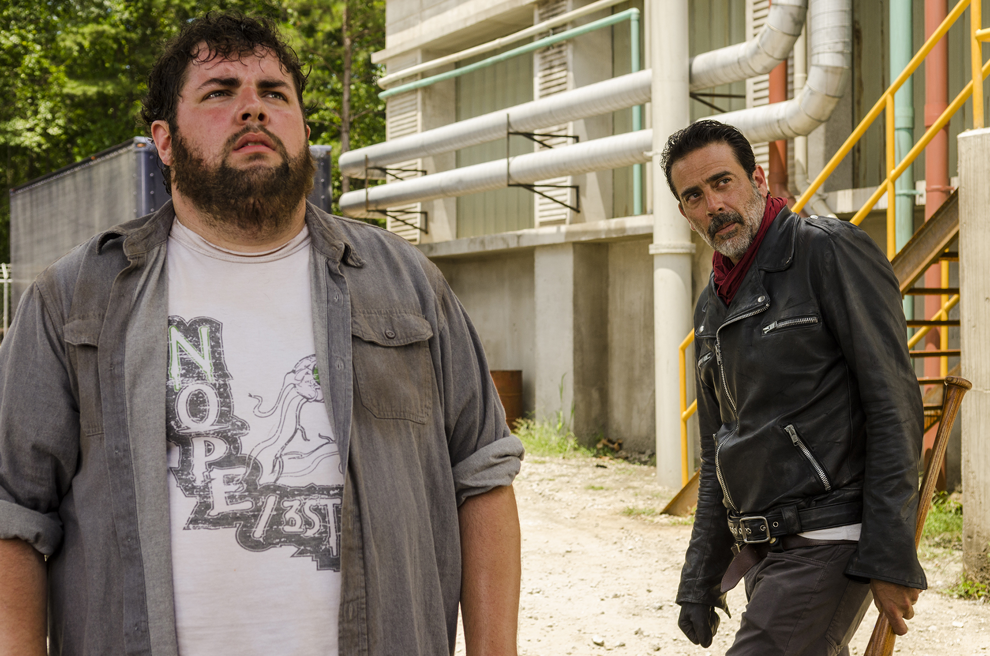 Jeffrey Dean Morgan as Negan, Joshua Hoover as Fat Joey - The Walking Dead