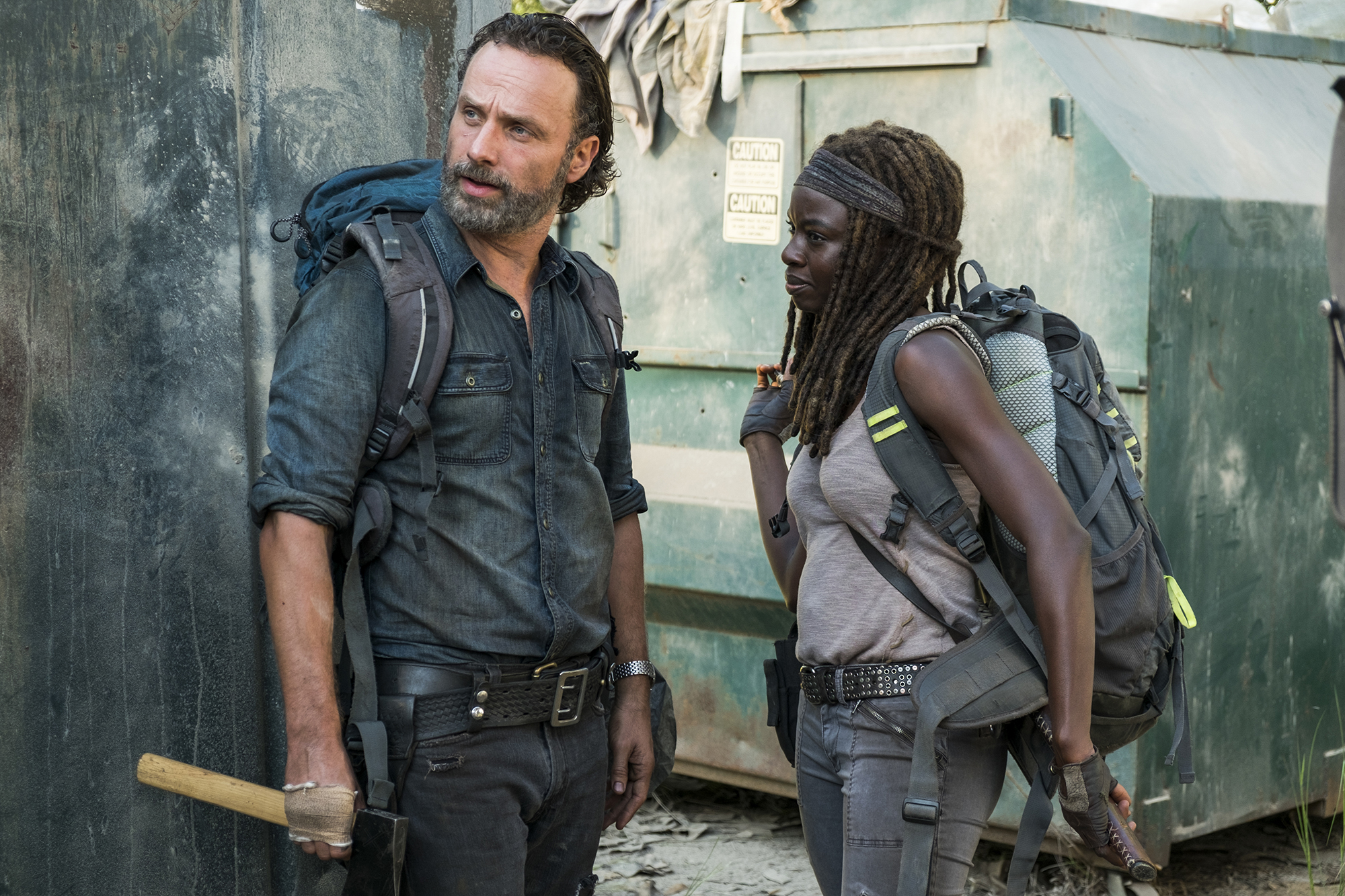 Andrew Lincoln as Rick Grimes, Danai Gurira as Michonne - The Walking Dead, Season 7, Episode 12