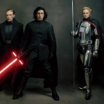 Domhnall Gleeson As General Hux, Adam Driver As Kylo Ren, and Gwendoline Christie As Captain Phasma For Star Wars: The Last Jedi Vanity Fair Shoot