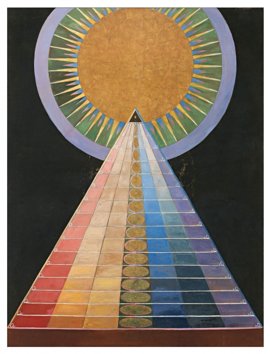 Hilma af Klint temple altarpiece painting from Beyond The Visible documentary